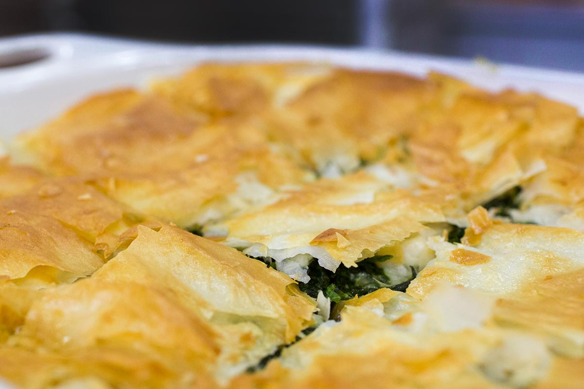 Spanakopita cooked by Dig In volunteers